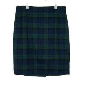 J. Crew The Pencil Skirt Green Blue Plaid 4 Wool